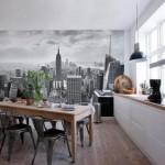3д фотообои с видом на город в интерьере кухни