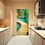 3д фотообои в дверном проеме на кухне, реально как в живую