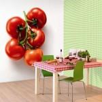 реалистисные 3д фотообои в интерьере кухни