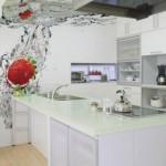 эффектные 3д фотообои в интерьере кухни