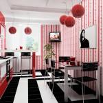 сочетание цветов красного, черного и белого на кухне