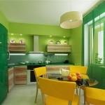 сочетание зеленного с желтым на кухне
