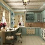голубая кухня в стиле прован
