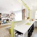 кухня гостиная в белых тонах 40 кв м