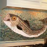 фартук из мозаики с рисунком