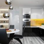 черно-желтая кухня 9 кв м