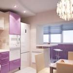 кухня совмещенная с балконом с барной стойкой