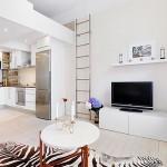 маленькая кухня-гостиная белого цвета