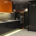 дизайн черно-оранжевой кухни 12 кв м