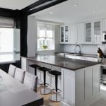дизайн кухни совмещенной с гостиной с барной стойкой в виде острова
