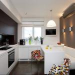 современный стиль, белый цвет, коричневый цвет, диван, шторы 10 кв м