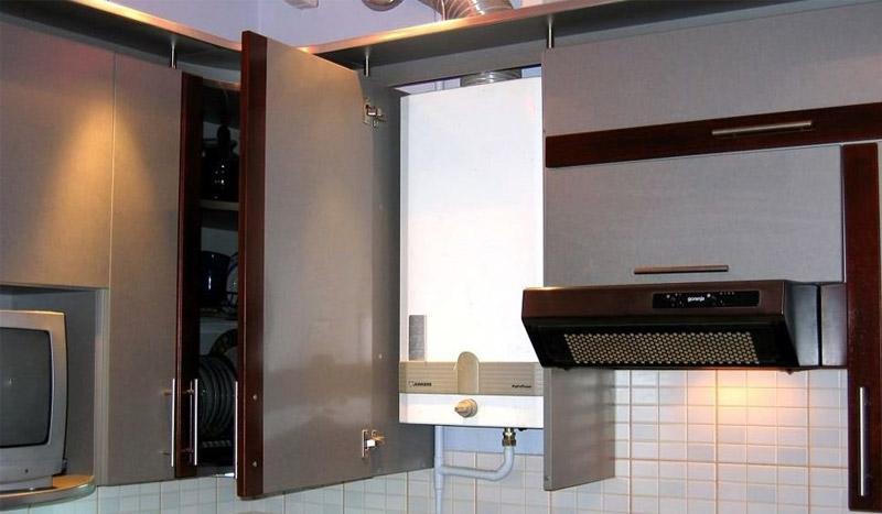 кухня в хрущевке 6 квм дизайн с холодильником и газовой колонкой фото 6
