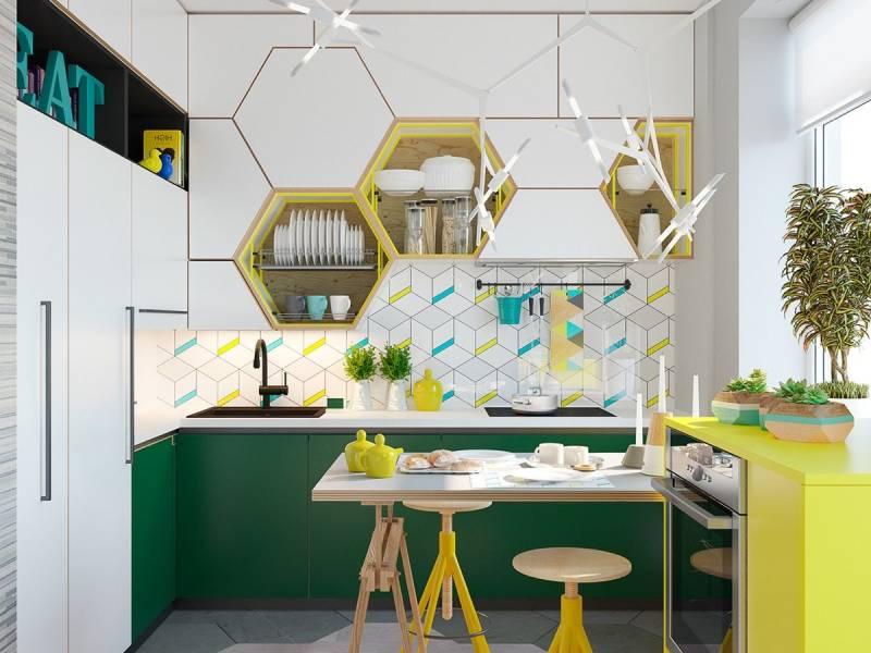 зелено-желтая кухня