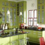 кухня зеленого цвета травы