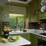 оливковая кухня в интерьере зеленого